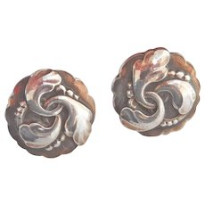 Georg Jensen 1940's Silver Leaf Earrings