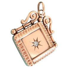 Ornate Victorian 9CT 9K Rose Gold Diamond Starburst Locket Pendant