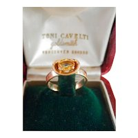 18K Gold Toni Cavelti 1.00 ct. Fancy Yellow Sapphire Ring