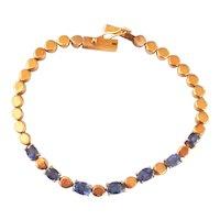 18K Gold 2.45 ct. Sapphire Line Vintage Bracelet