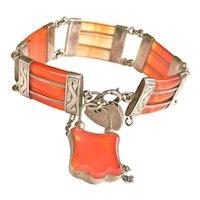 Antique Scottish Banded Agate Silver Padlock Bracelet