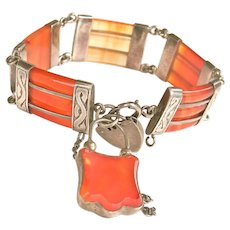 Antique Scottish Banded Agate Silver Padlock Bracelet