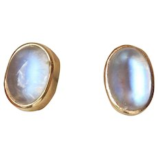 18K Gold 1.00 Ct. Moonstone Cabochon Vintage Earrings