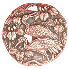 Engraved Silver Ornate Heron Bird Vintage Scarf Ring
