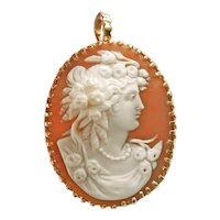 14K Gold Carved Shell Cameo Pin or Pendant