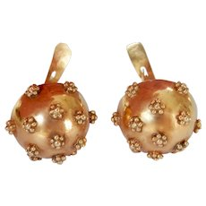 Lovely Victorian 16K Gold Beaded Sphere Drop Earrings