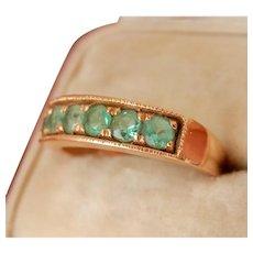 18K Gold 0.66 ct. Emerald Band Vintage Ring