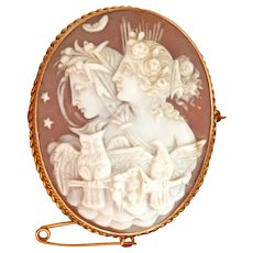 Exquisite 15 CT 15K Gold Allegory of Day and Night Shell Cameo Pin