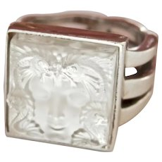 Lalique Carved Crystal Arethuse Silver Ring