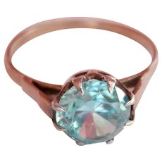Art Deco 9CT 9K White Gold 2.00 ct. Blue Zircon Ring