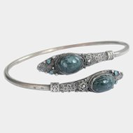 Terrific French Silver Turquoise Agate Snake Serpent Scarab Cuff Bracelet
