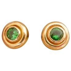 18K Gold Green Garnet Tsavorite Stud Earrings