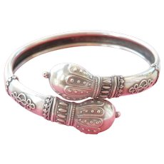 Stunning Victorian Etruscan Style Silver Bypass Bracelet