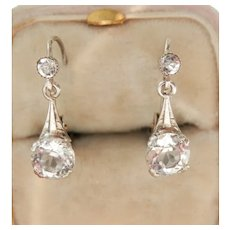 Beautiful French Paste Antique Silver Drop Earrings
