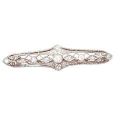 Beautiful 14K & 18K Gold Openwork Diamond Brooch Pin