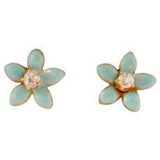 14K Gold Enamel Diamond Petite Flower Stud Earrings