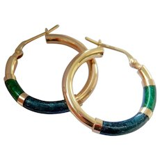 Lovely 14K gold Italian Enamel Hoop Earrings