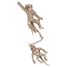Art Deco Silver Paste Double Monkey Pin