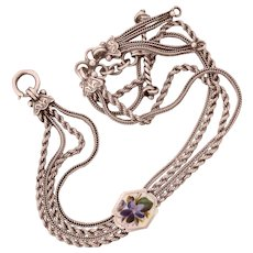 Antique Silver Enamel Albertina Watch Chain or Bracelet