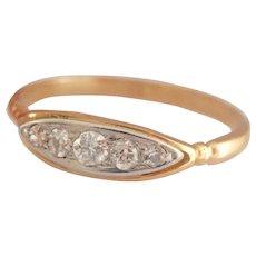 Antique 18K Gold & Platinum 0.20 ct. 5-Stone Diamond Ring