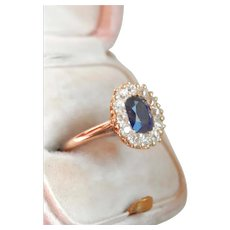 14K Gold Estate 1.40 ct. Sapphire OEC Diamond Ring