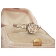 Stunning 18K Gold 0.95 OEC Diamond Solitaire Antique Ring