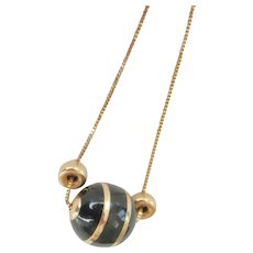 14K Gold Black Enamel Sphere Pendant Necklace