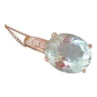 Wonderful H. Stern 18K White Gold 6.75 ct. Aquamarine Diamond Pendant