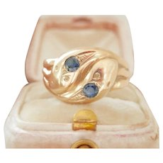 Bold Antique 9ct 9k Sapphire Double Snake Serpent Ring
