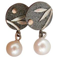 Elegant Handmade Silver 18K Rose Gold Pearl Drop Earrings