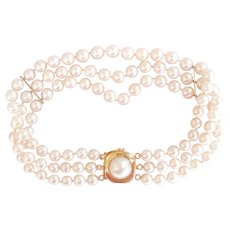 Lovely 14K Gold Triple Strand 3 Row Pearl Bracelet
