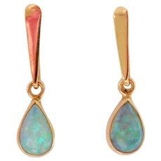 14K Gold Vintage Opal Drop Earrings