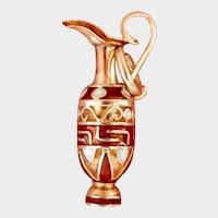 14K Gold Enamel Claret Jug Vintage Pendant