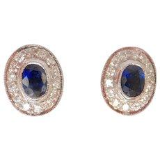 18K WG 0.96 ct. Sapphire Diamond Cluster Earrings