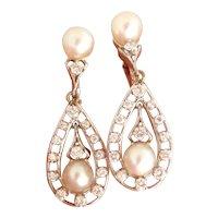 Stunning 14K WG Pearl and Diamond Dangle Vintage Earrings
