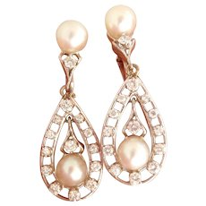 Stunning 14K WG Pearl and Diamond Dangle Vintage Earrings
