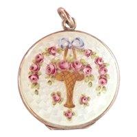 Lovely Floral Guilloche Enamel Silver Locket~1920's