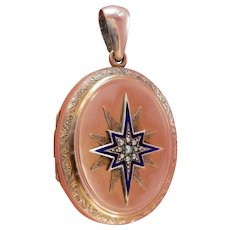 Heavy Victorian 9CT 9K Gold Enamel Pearl Starburst Locket Hair Pendant
