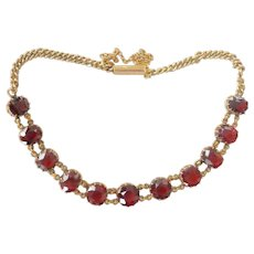 Beautiful Victorian 15CT 15K Gold Garnet Line Bracelet