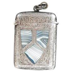 Antique Engraved Silver Match Safe Vesta with Scotland Blue Montrose Agate Shield~ 1916