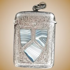 Antique Engraved Silver Match Safe Vesta with Scotland Blue Montrose Agate Shield~ 1916