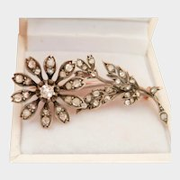 Antique French Silver-Topped 18K Rose Gold 0.82 ct. Diamond Floral Pin Brooch