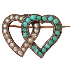 Victorian Silver Entwined Witch's Heart Turquoise Seed Pearl Pin Brooch