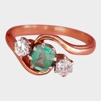 Lovely 18K Gold Platinum Emerald Diamond Ring