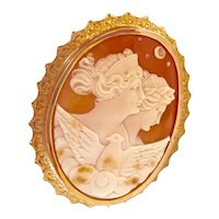Antique 10K Gold BIRKS Allegory of the Day and Night Shell Cameo Pin