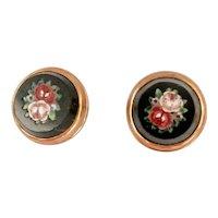 14K Gold Round Micromosaic Vintage Earrings