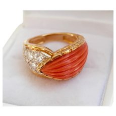 18K Gold Hand-carved Coral 0.55 ct. Diamond Ring