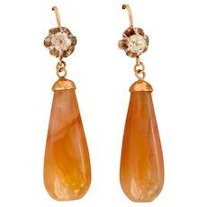 18K Gold Silver Old European-cut Diamond Agate Drop Earrings