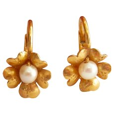 Antique 18K Gold Natural Pearl Flower Earrings