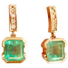 18K Gold 2.70 ctw. Emerald Diamond Drop Earrings